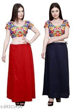 Sabhyatam Combo of Women's Cotton Best Plain Solid Indian Readymade Inskirt Saree Petticoats (Black, Red) (Waist Size- 38 Inch)