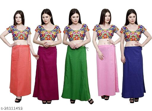 Sabhyatam Combo of Women's Cotton Best Plain Solid Indian Readymade Inskirt Saree Petticoats (Peach, Magenta, Green, Baby Pink, Royal Blue) (Waist Size- 44 Inch)
