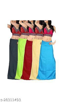 Sabhyatam Combo of Women's Cotton Best Plain Solid Indian Readymade Inskirt Saree Petticoats, (Black, Parrot Green, Golden, Maroon, Sky Blue) (Waist Size-38  Inch)