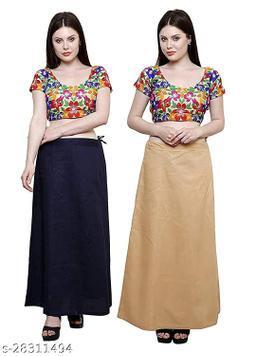 Sabhyatam Combo of Women's Cotton Best Plain Solid Indian Readymade Inskirt Saree Petticoats (Black, Gold) (Waist Size- 38 Inch)