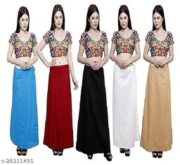 Sabhyatam Combo of Women's Cotton Best Plain Solid Indian Readymade Inskirt Saree Petticoats, (Light Blue, Maroon, Black, Cream, Off White) (Waist Size-38 Inch)