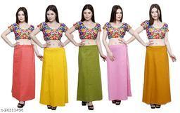 Sabhyatam Combo of Women's Cotton Best Plain Solid Indian Readymade Inskirt Saree Petticoats, (Peach, Yellow, Mehandi Green, Mustard, Baby Pink) (Waist Size- 38 Inch)