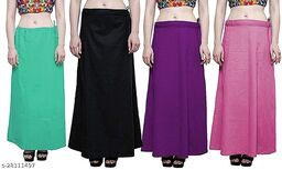 Sabhyatam Combo of Women's Cotton Best Plain Solid Indian Readymade Inskirt Saree Petticoats (Black, Purple, Sea Green, Pink) (Waist Size- 38 Inch)
