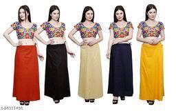 Sabhyatam Combo of Women's Cotton Best Plain Solid Indian Readymade Inskirt Saree Petticoats (Orange, Black, Beige, Navy Blue, Yellow) (Waist Size- 44 Inch)