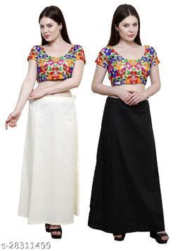 Sabhyatam Combo of Women's Cotton Best Plain Solid Indian Readymade Inskirt Saree Petticoats (Black, White) (Waist Size- 38 Inch)