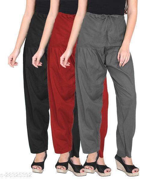 Women's Cotton  Salwar Free Size Set of 3 - BLACK,MAROON,GREY