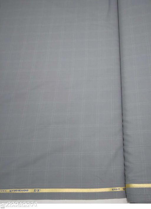 Geoffrey Hammond Men's Unstitched Blended Wool Fabric Suit Fabric ( Grey check 3 Meter, Free Size) For Gifts
