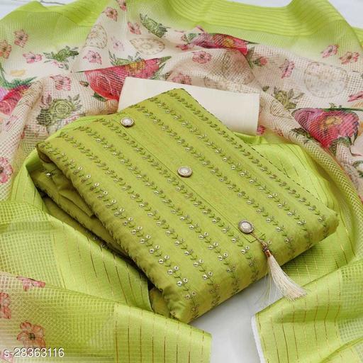 Divaastha Chanderi Green Embroidered Kurta & Churidar Material  ( VAR1019GREEN )