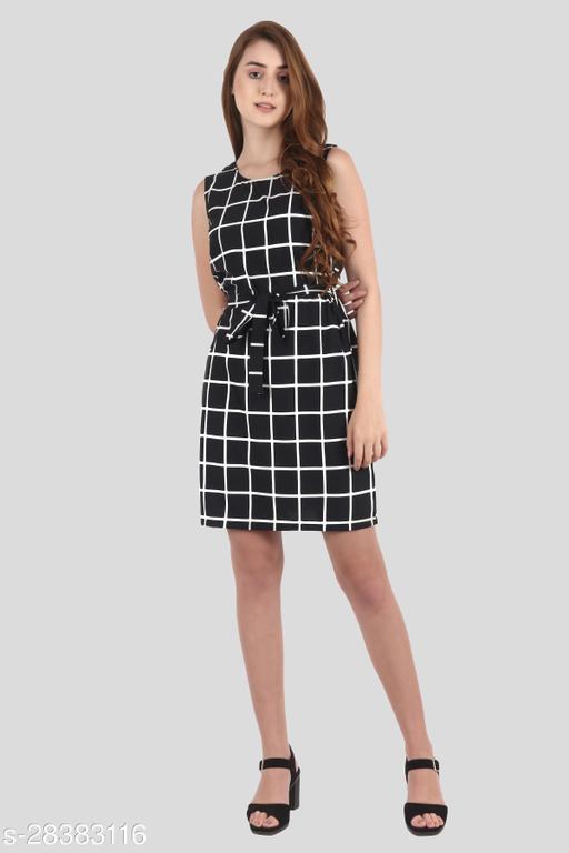 My Swag Women Black Color Sheath Checkered Mini Dress