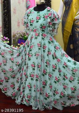 Opulent Flower Printed light blue colored Digital Printed Flux Georgette Floor Touch Anarkali Gown