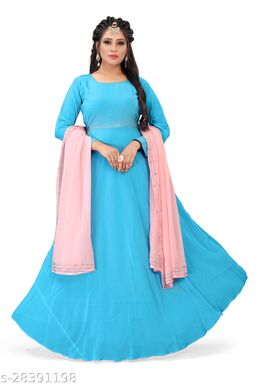 Stylish blue colored partywear cut work Georgette gown