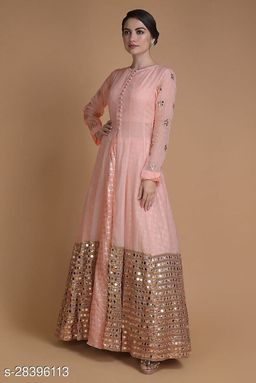Designer Peach Jacket Lahenga With Mirror Abla Work Along With Weaving Work Skirts Gown