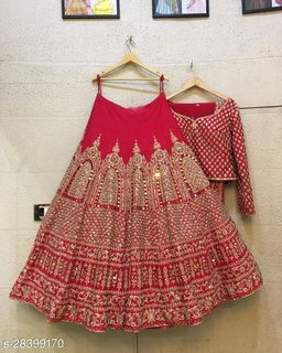 Red Type Colored Party Wear Lehenga Choli With Embroidery Work LC 286