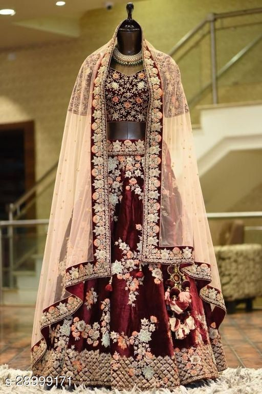 Maroon Colored Designer Partywear Embroidered Work Velvet Material Lehenga Choli LC 296