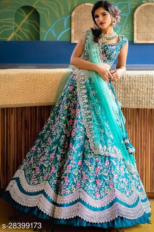 Aqua Blue Designer Partywear Embroidered Work Malay satin Material Lehenga Choli LC 299