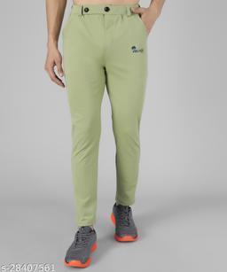 Veltick Men's Lycra Light Green Track Pant