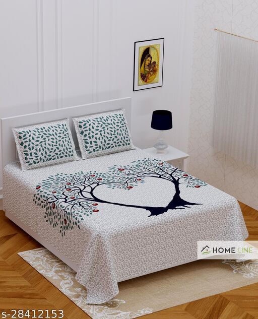 Cotton Double Bedsheet With Two Pillow Cover