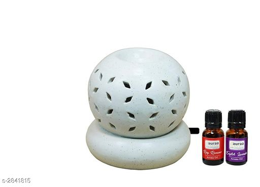 Asian Aura Electric Aroma Diffuser Set Round Shape Burner (Fragrance: Rosy Romance, English Lavender) Pack of 3.