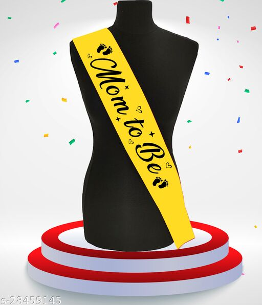 """Style Secrets Shimmering 3.7"""" Yellow Mom to be Sash for all Beautiful Mommies for Baby Shower and Other Parties"""