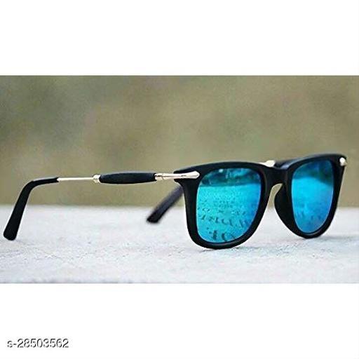 Stylish Polarised Wayfarer Sunglasses With Gold Black Frame And Blue Glasses