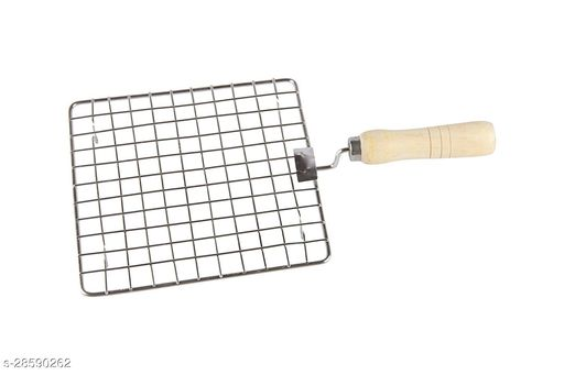 Square Barbeque Jali Roti Roast Grill Papad Roaster Chapati Toast Grill Wooden Handle Silver