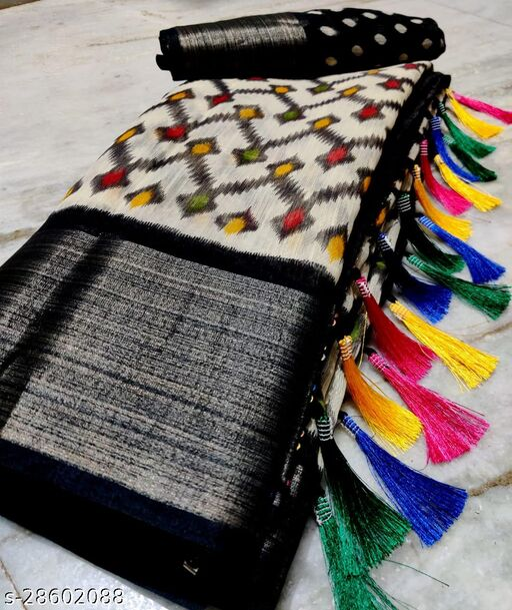 Gomore Fashion Soft Linen Cotton Slub Saree with Running Blouse
