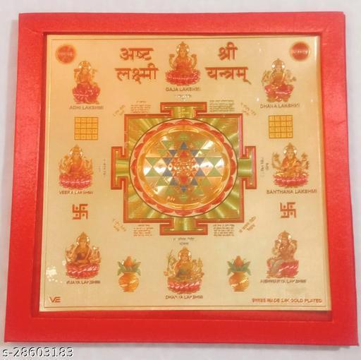 KESAR ZEMS Shree Ashth Laxmi Yantra on Foil Paper with Red Velvet Box.(23 x 23 x 0.1 cm)Golden