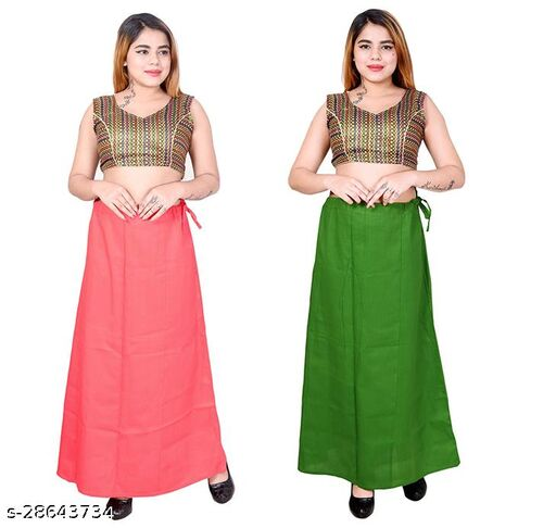 Riwaz Trendz Petticoat Inskirt For women in Latest Collection (Coral, Green)