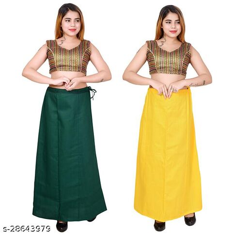 Riwaz Trendz Petticoat Inskirt For women in Latest Collection (Dark Green, Yellow)