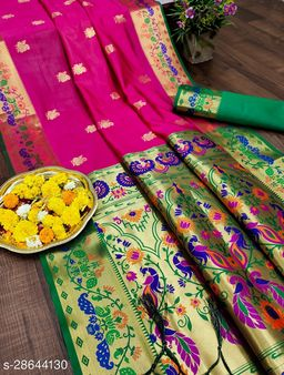 PAITHANI SILK WITH FINNEST WEAVING SAREE WITH BLOUSE PIECE