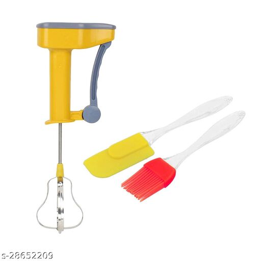 HOMEENS® Power Free Non-electric Hand Blender With Spatula And Pastry Brush For Kitchen - Combo of 3 in Multicolour