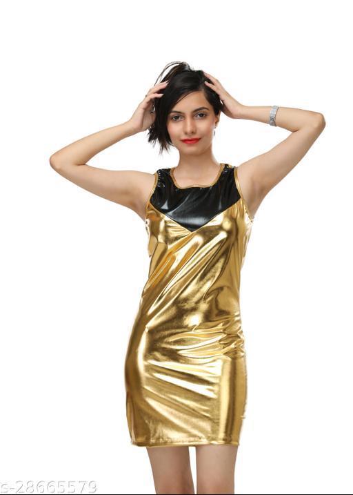 DR47 Women Golden Party Wear Mini Dress