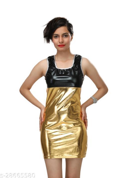 DR44 Women Golden Party Wear Mini Dress
