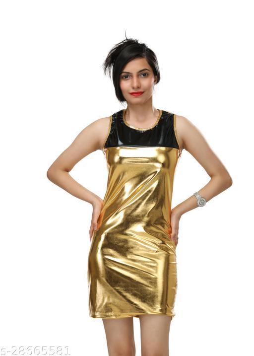 DR46 Women Golden Party Wear Mini Dress