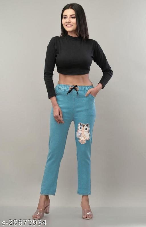 Lashi Women's Boyfriend fit Denim Cropped Jeans for Women Girls Light Blue