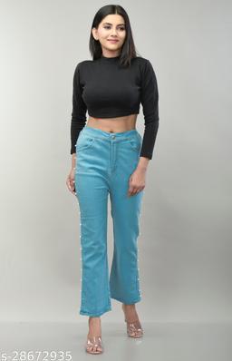 Lashi Women's Relaxed Fit Denim Jeans Light Blue