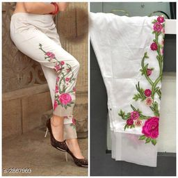 Embroidered 100% Pure stretchable cotton Pant