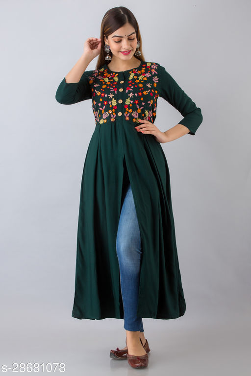 NISHABD PetrolGreen Embroidered Frontslit Kurta For Women (NS010Ptrlgrn)