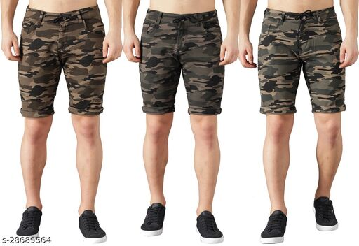 Boyd Jeans Men's Cotton Stretchable Knee Length Camouflage Shorts - Pack of 3 (CMF-SHORTS-DGRN-LGRN-GRN-1935)