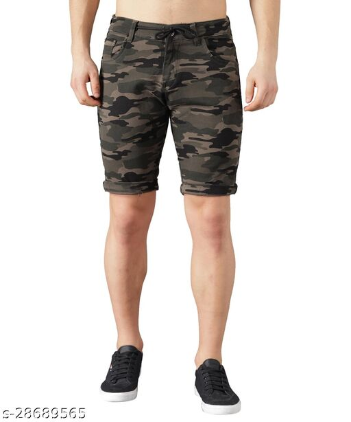Boyd Jeans Men's Cotton Stretchable Knee Length Camouflage Shorts - Dark Green