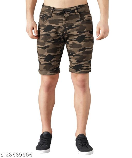 Boyd Jeans Men's Cotton Stretchable Knee Length Camouflage Shorts - Light Green