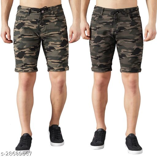 Boyd Jeans Men's Cotton Stretchable Knee Length Camouflage Shorts - Pack of 2 (CMF-SHORTS-DGRN-GRN-1935)