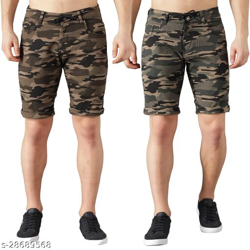 Boyd Jeans Men's Cotton Stretchable Knee Length Camouflage Shorts - Pack of 2 (CMF-SHORTS-LGRN-GRN-1935)