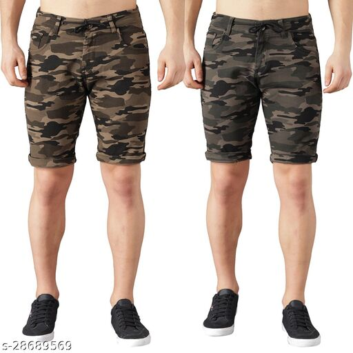 Boyd Jeans Men's Cotton Stretchable Knee Length Camouflage Shorts - Pack of 2 (CMF-SHORTS-DGRN-LGRN-1935)