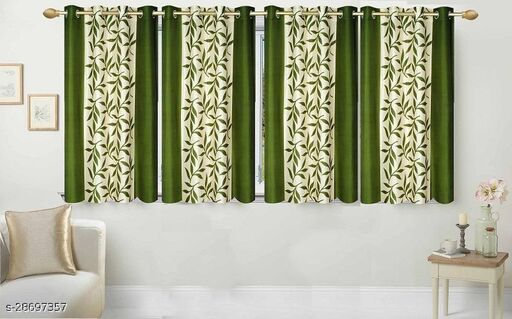 Ruhi Home Furnishing Green Floral 5ft Window Curtain Pack of 4
