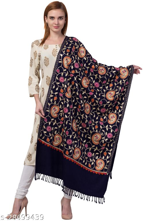Women's Blended Wool Stole, Kashmiri Aari Embroidery Shawl for Winter Size-28x80