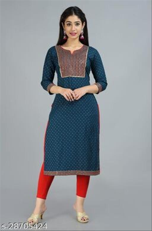Designer Women's Cotton Blend Straight Embroidered Kurti