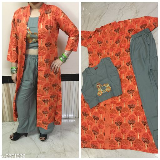 Kurta Sets Women's Embroidered Cotton Blend Kurta set with Palazzos  *Fabric* Kurta - Cotton Rayon, Palazzo - Cotton Rayon  *Sleeves* Sleeves Are Included  *Size* Kurta  *Length* Kurta Up To 52 in, Palazzo- Up To 42 in  *Type* Stitched  *Description* It Has 1 Piece Of Women's Top With jacket & 1 Piece Of Women's Palazzo  *Work / Pattern* Kurta - Printed, Palazzo - Solid  *Sizes Available* M, L, XL *    Catalog Name: Women's Embroidered Cotton Blend Kurta Sets CatalogID_390083 C74-SC1003 Code: 417-2871039-