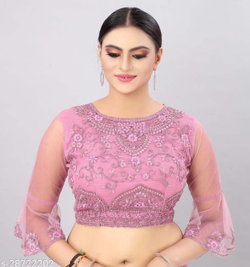 Angel Trends Pink Net Zari Work Unstitched Blouse