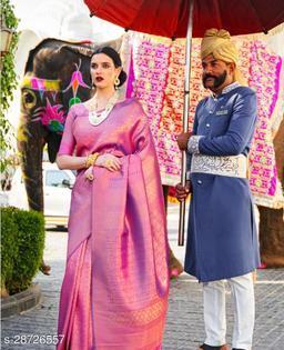 Beautiful Kanjeevarm Silk Designer Saree with Blouse Piece for Women